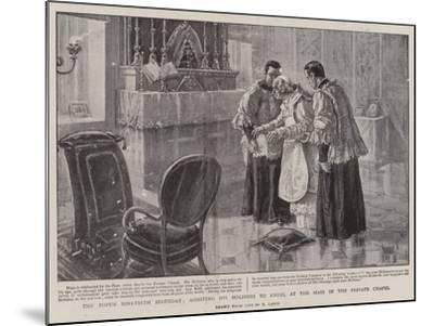 The Pope's Ninetieth Birthday, Assisting His Holiness to Kneel at the Mass in the Private Chapel-Henri Lanos-Mounted Giclee Print