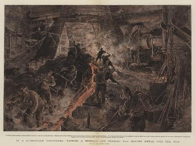 In a Birmingham Ironworks, Tapping a Furnace and Running the Molten Metal into the Pigs-Henri Lanos-Giclee Print