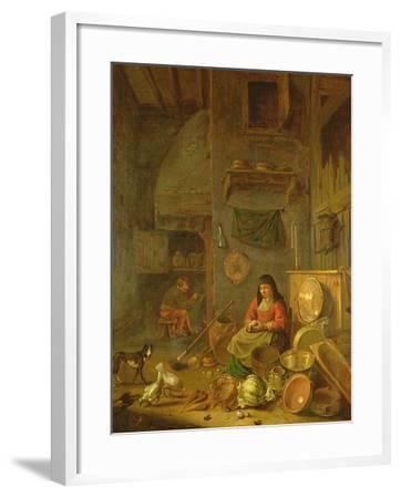 A Kitchen Interior with a Woman Peeling Potatoes Beside a Dog-Hendrik Martensz Sorgh-Framed Giclee Print