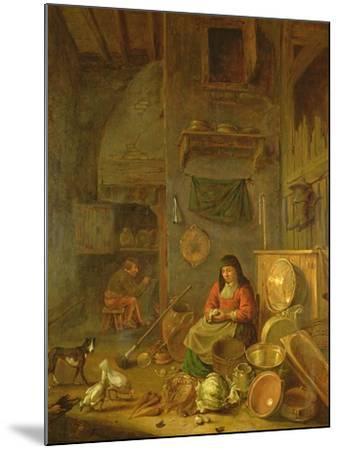 A Kitchen Interior with a Woman Peeling Potatoes Beside a Dog-Hendrik Martensz Sorgh-Mounted Giclee Print