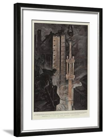 Tempering a Gun at the Creusot Ironworks-Henri Lanos-Framed Giclee Print