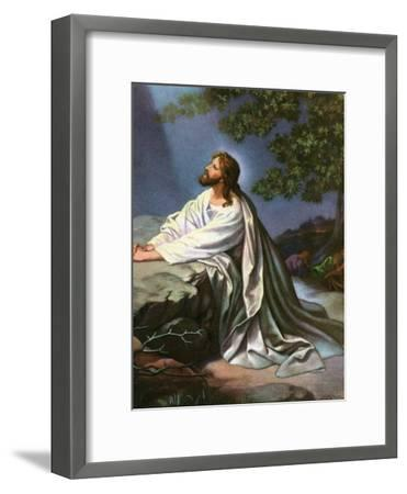 Christ in the Garden of Gethsemane by Heinrich Hofmann, 1930S-Heinrich Hofmann-Framed Premium Giclee Print