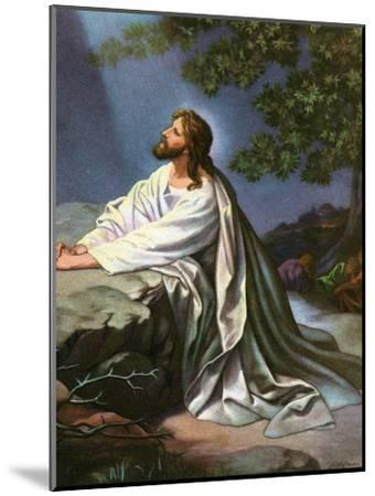 Christ in the Garden of Gethsemane by Heinrich Hofmann, 1930S-Heinrich Hofmann-Mounted Premium Giclee Print