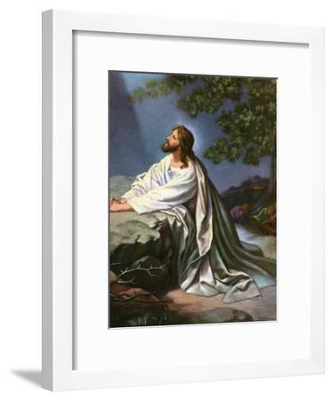 Christ in the Garden of Gethsemane by Heinrich Hofmann, 1930S-Heinrich Hofmann-Framed Giclee Print