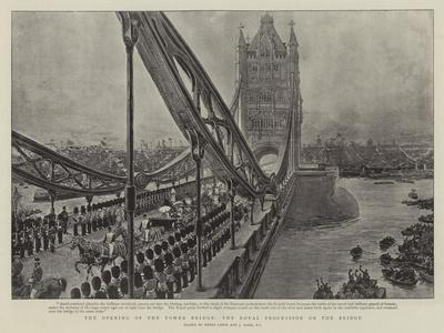 The Opening of the Tower Bridge, the Royal Procession on the Bridge-Henri Lanos-Framed Giclee Print