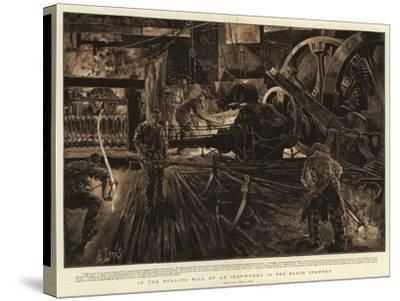 In the Rolling Mill of an Ironworks in the Black Country-Henri Lanos-Stretched Canvas Print