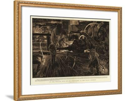 In the Rolling Mill of an Ironworks in the Black Country-Henri Lanos-Framed Giclee Print