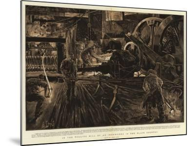 In the Rolling Mill of an Ironworks in the Black Country-Henri Lanos-Mounted Giclee Print