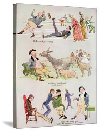 Cartoons of Mr. Pickwick from 'Holly Leaves'-Henry Harris-Stretched Canvas Print