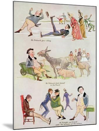 Cartoons of Mr. Pickwick from 'Holly Leaves'-Henry Harris-Mounted Giclee Print