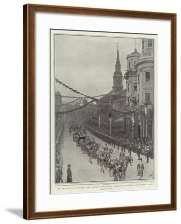 The Procession Entering the Strand, the Royal Carriage Arriving at Charing Cross-Henry Marriott Paget-Framed Giclee Print