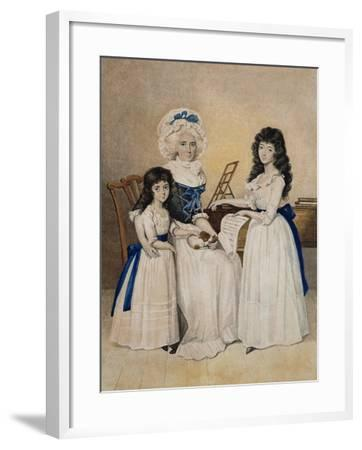 The Mansion of Peace: Mrs Campell and Her Two Daughters Beside a Pianoforte-Henry Edridge-Framed Giclee Print
