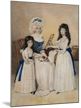 The Mansion of Peace: Mrs Campell and Her Two Daughters Beside a Pianoforte-Henry Edridge-Mounted Giclee Print