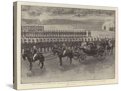 The Queen Reviewing the Yeomen of the Guard in the Garden at Buckingham Palace-Henry Marriott Paget-Stretched Canvas Print