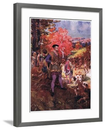 Jacques Cartier and the Redskins, C.1920-Henry Sandham-Framed Giclee Print