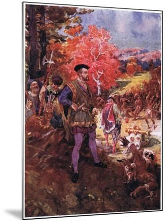 Jacques Cartier and the Redskins, C.1920-Henry Sandham-Mounted Giclee Print