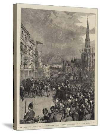 The Queen's Visit to Birmingham, the Royal Procession in the Bull Ring-Henry William Brewer-Stretched Canvas Print