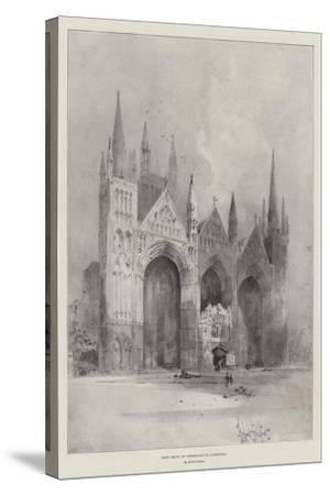 West Front of Peterborough Cathedral-Herbert Railton-Stretched Canvas Print