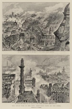 The Great Fire in the City, Bird'S-Eye Views of the Ruins-Henry William Brewer-Stretched Canvas Print