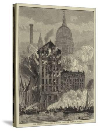 The Thames Street Fire, a Sketch from the Railway Bridge-Henry William Brewer-Stretched Canvas Print