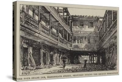 The Four Swans Inn, Bishopsgate Street, Sketched During the Recent Demolition-Henry William Brewer-Stretched Canvas Print