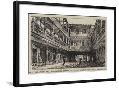 The Four Swans Inn, Bishopsgate Street, Sketched During the Recent Demolition-Henry William Brewer-Framed Giclee Print