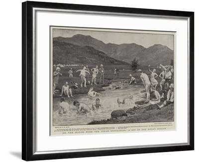 On the March with the Tirah Expedition, a Dip in the Kohat Stream-Henry Marriott Paget-Framed Giclee Print