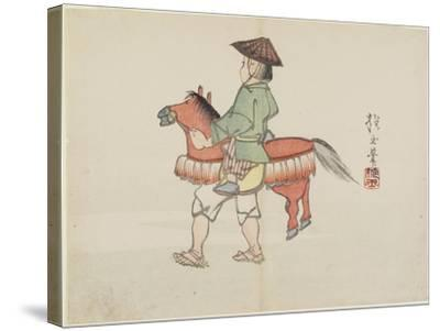 (Street Performer with Horse Costume), C. 1830- Hogyoku-Stretched Canvas Print