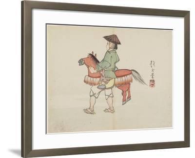 (Street Performer with Horse Costume), C. 1830- Hogyoku-Framed Giclee Print