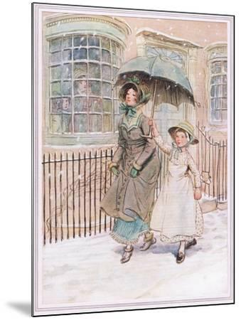 Now and Then Ladies Pass in their Pattens-Hugh Thomson-Mounted Giclee Print