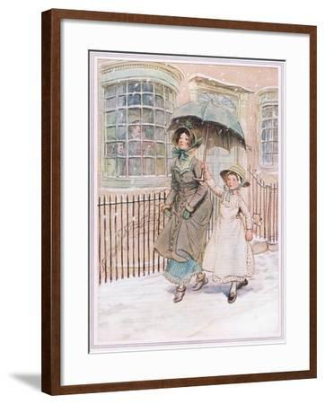 Now and Then Ladies Pass in their Pattens-Hugh Thomson-Framed Giclee Print