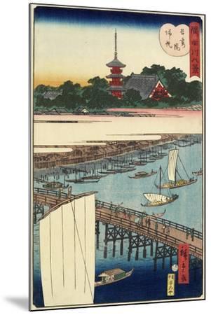 Returning Sails at Azuma Bridge, November 1861--Mounted Giclee Print