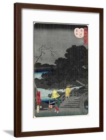 Night Rain at Makura Bridge, November 1861--Framed Giclee Print