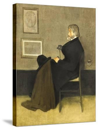 Portrait of Thomas Carlyle, C.1880 (Hand-Coloured Photogravure, on White Wove Paper)-James Abbott McNeill Whistler-Stretched Canvas Print