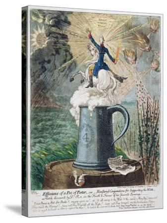 Effusions of a Pot of Porter-James Gillray-Stretched Canvas Print