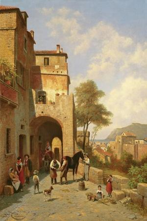 View of Spottorno on the Mediterranean Coast, 19th Century-Jacques Carabain-Stretched Canvas Print