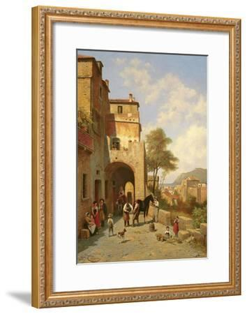 View of Spottorno on the Mediterranean Coast, 19th Century-Jacques Carabain-Framed Giclee Print