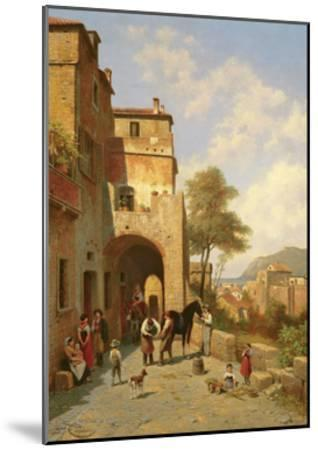 View of Spottorno on the Mediterranean Coast, 19th Century-Jacques Carabain-Mounted Giclee Print