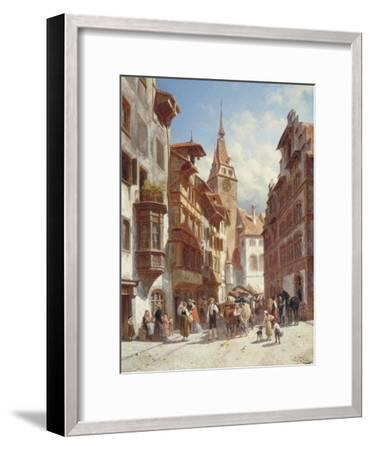 Figures on the Street in Zug, Switzerland, 1880-Jacques Carabain-Framed Giclee Print