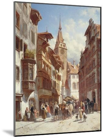 Figures on the Street in Zug, Switzerland, 1880-Jacques Carabain-Mounted Giclee Print