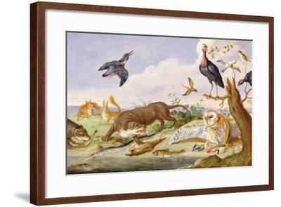 An Otter and an Owl Guarding their Catches-Jan van Kessel the Elder-Framed Giclee Print