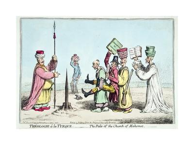 Theologie a La Turque- the Pale of the Church of Mahomet, Published by Hannah Humphrey in 1799-James Gillray-Framed Giclee Print