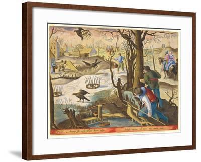 Birdcatchers Using Traps Baited with Rats to Capture Hawks-Jan van der Straet-Framed Giclee Print