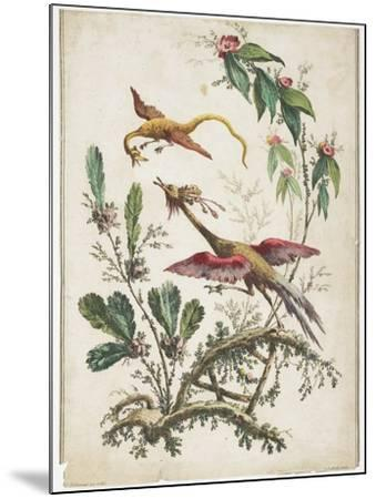 Ornament. Chinoiserie. Flowers and Birds., 1770-Jean Baptiste Pillement-Mounted Giclee Print