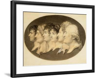 Profile Portrait of Augustin and His Family-Jean-Baptiste-Jacques Augustin-Framed Giclee Print