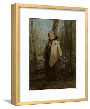 The Knitting Shepherdess, 1856-57-Jean-Francois Millet-Framed Giclee Print