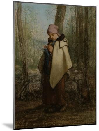 The Knitting Shepherdess, 1856-57-Jean-Francois Millet-Mounted Giclee Print