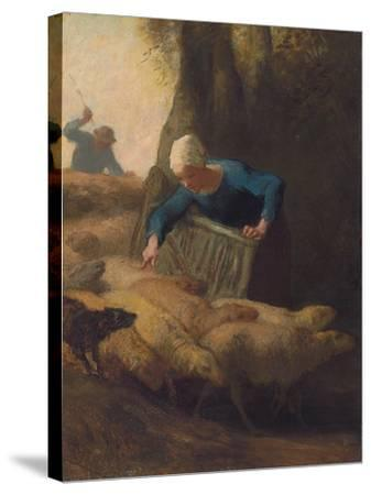 Counting the Flock, 1847-49-Jean-Francois Millet-Stretched Canvas Print