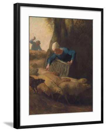 Counting the Flock, 1847-49-Jean-Francois Millet-Framed Giclee Print