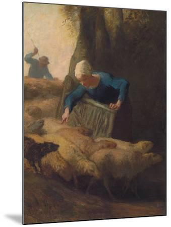 Counting the Flock, 1847-49-Jean-Francois Millet-Mounted Giclee Print